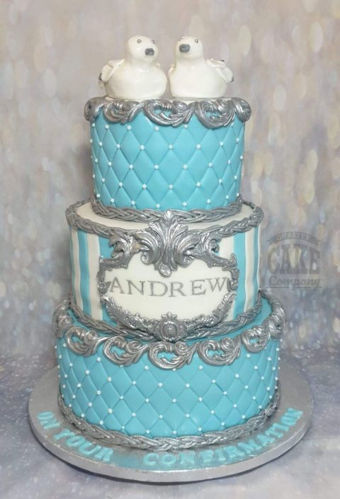 three tier confirmation cake blues and silvers - tamworth