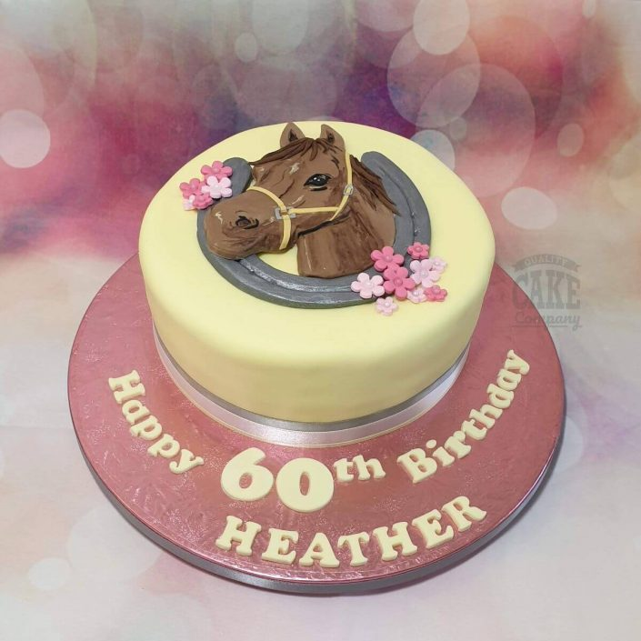 yellow and pink horse theme birthday cake - tamworth