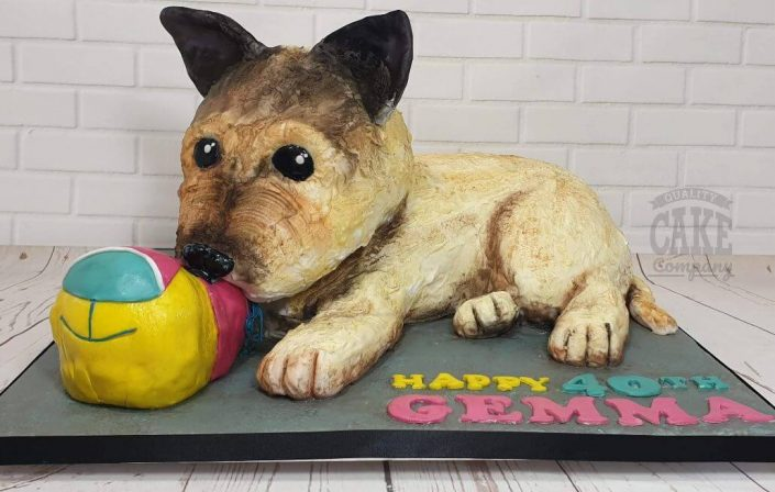 novelty sculpted dog cake - tamworth