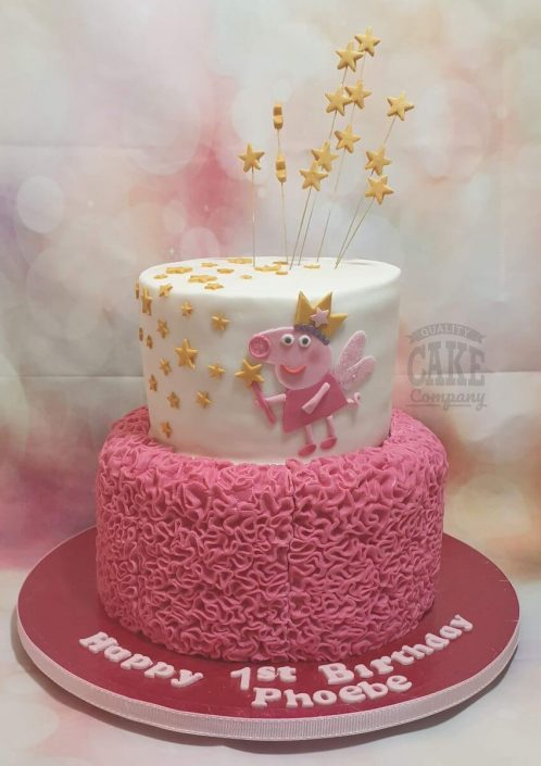 two tier ruffles cake with peppa pig 1st birthday cake - tamworth