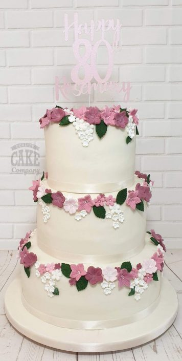 three tier ivory and pink floral birthday cake - tamworth