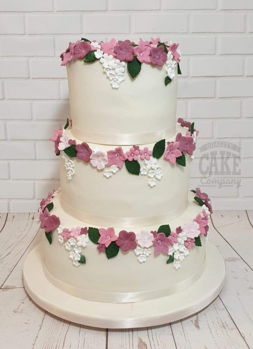Three tier simple pink floral wedding cake - tamworth west midlands