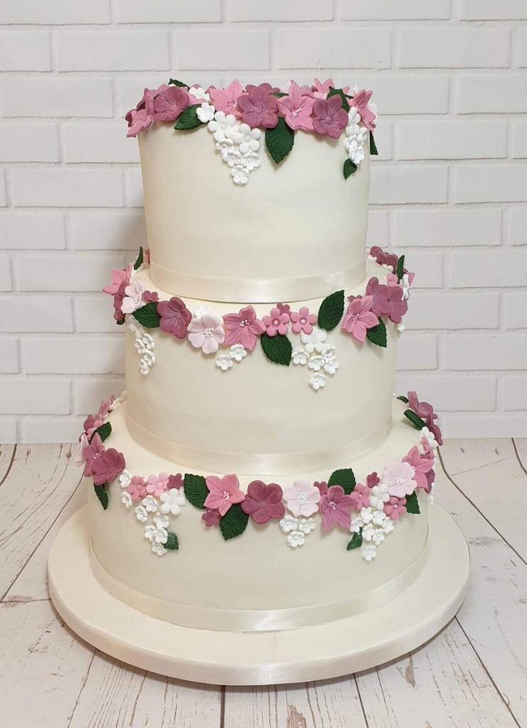 three tier ivory pink floral wedding anniversary cake - tamworth