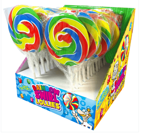 ainbow swirl lolly lollipop - quality cake company tamworth