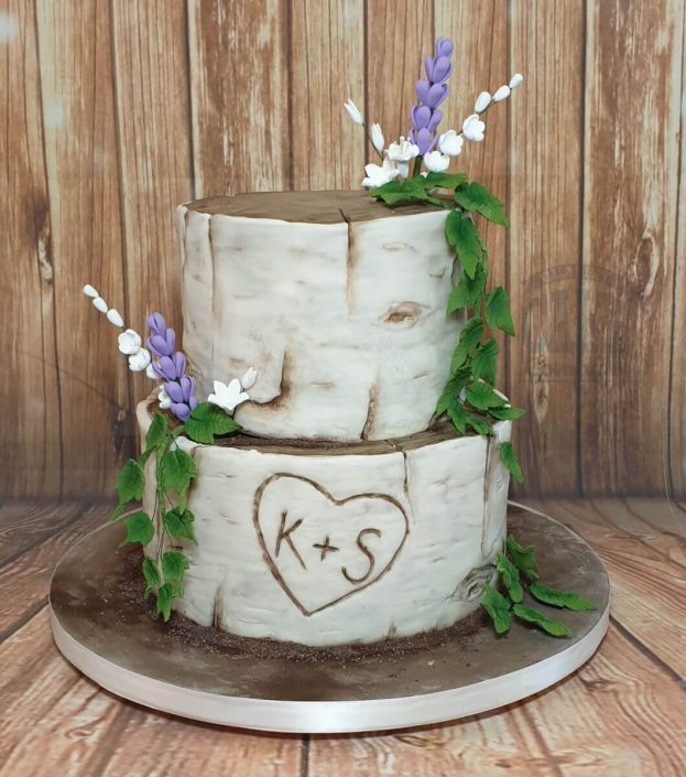 two tier silver birch rustic wedding cake - tamworth west midlands