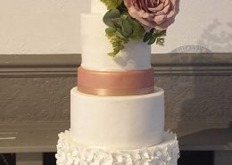 White and rose gold five-tier modern wedding cake with silk flowers - tamworth west midlands