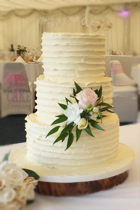 Three-tier ribbed buttercream rustic wedding cake - tamworth west midlands