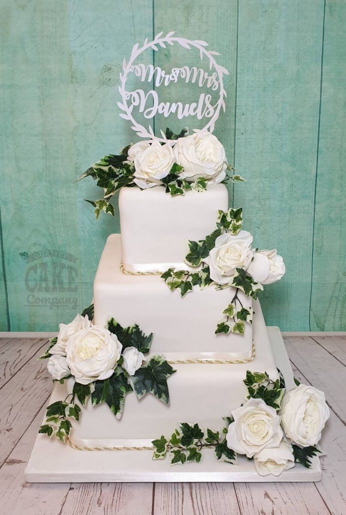 Three tier square white wedding cake with ivy and white roses - tamworth west midlands