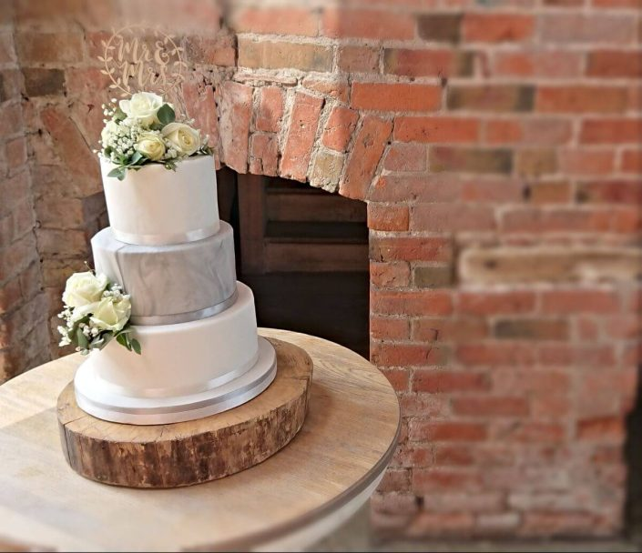 Three-tier marble simple wedding cake with fresh roses - Tamworth West Midlands