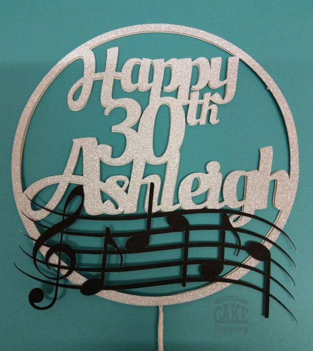 music theme personalised cake topper - tamworth