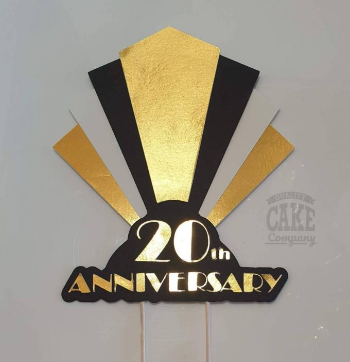 20th anniversary art deco theme personalised cake topper - tamworth