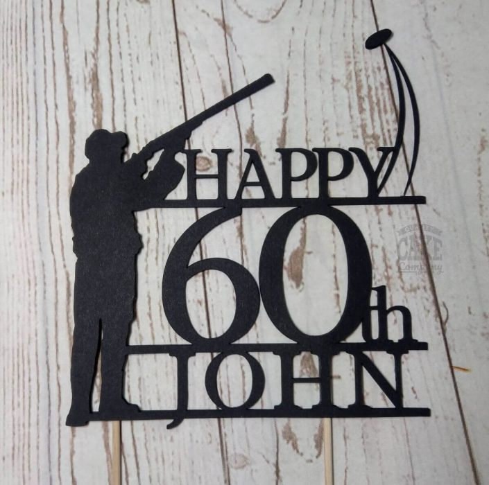 60th birthday clay pigeon shooting theme cake topper - Tamworth