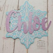 snow flake frozen theme personalised cake topper - tamworth