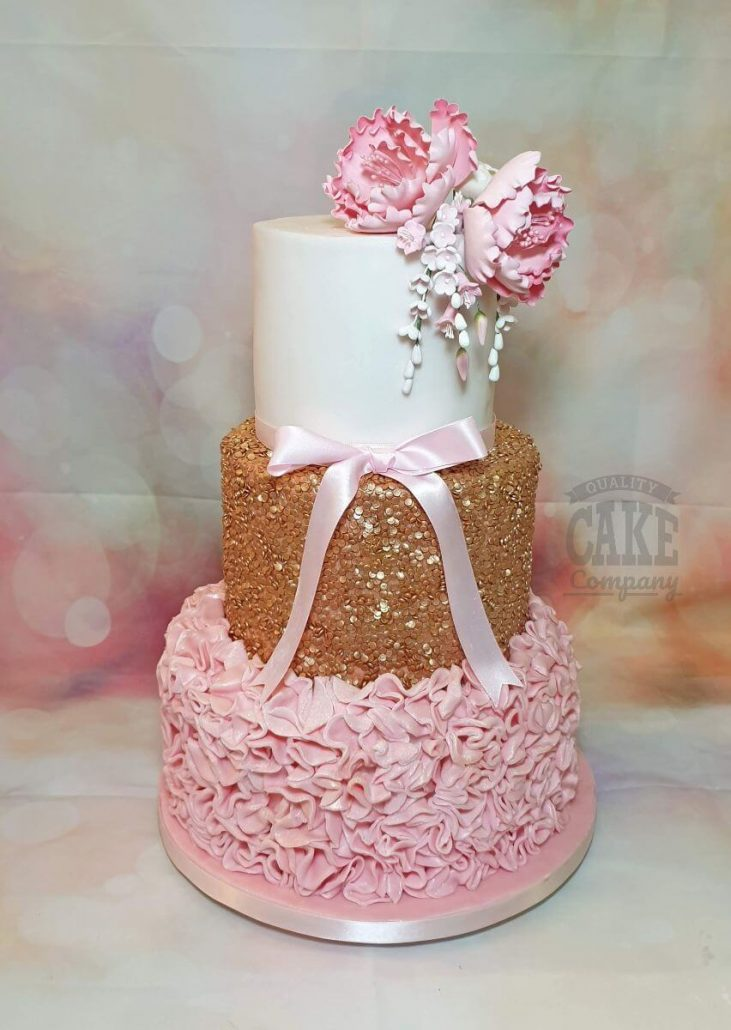 Three-tier sequin and ruffle cake pink and gold - tamworth west midlands