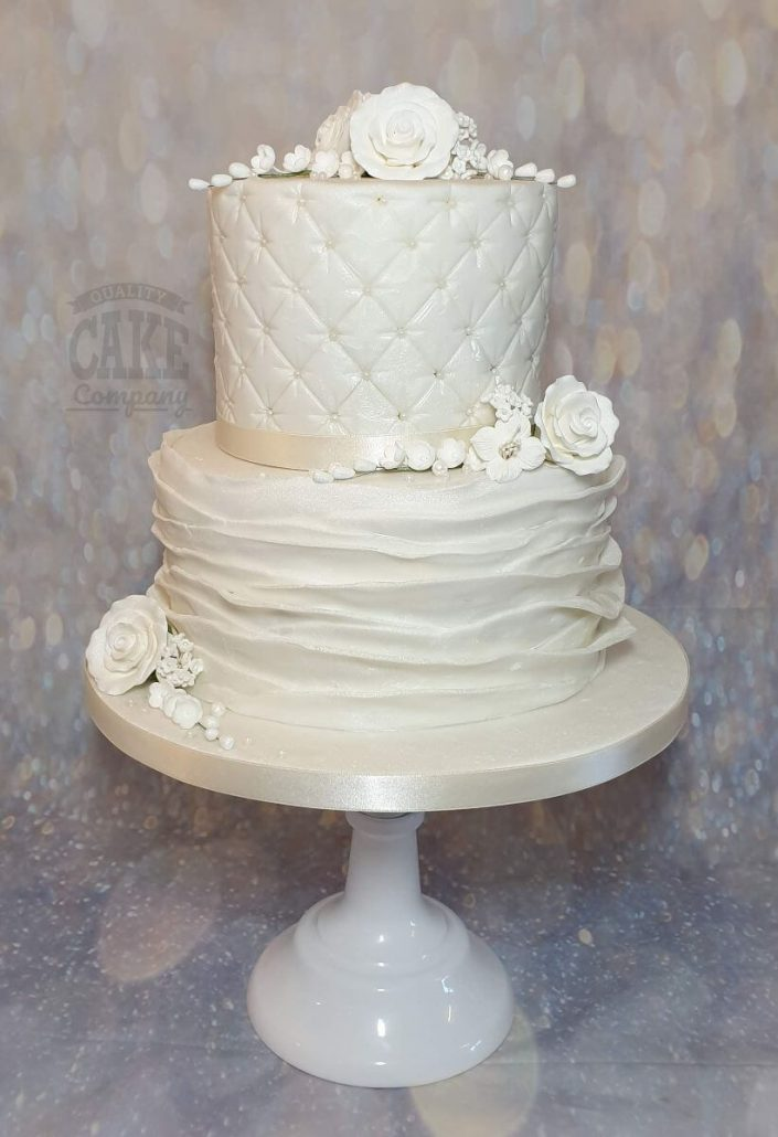 two-tier ruffle and quilted wedding cake with white flowers - tamworth west midlands