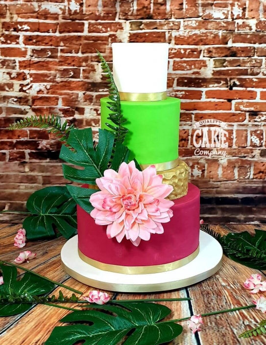 bright tropical colourful wedding cake - tamworth west midlands