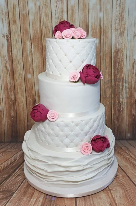 four-tier ruffle quilted wedding cake - tamworth west midlands