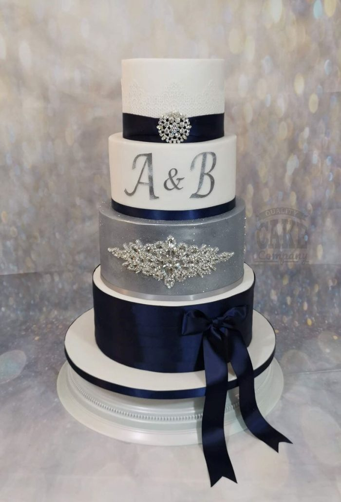 Four tier wedding cake navy and silver bling - tamworth west midlands