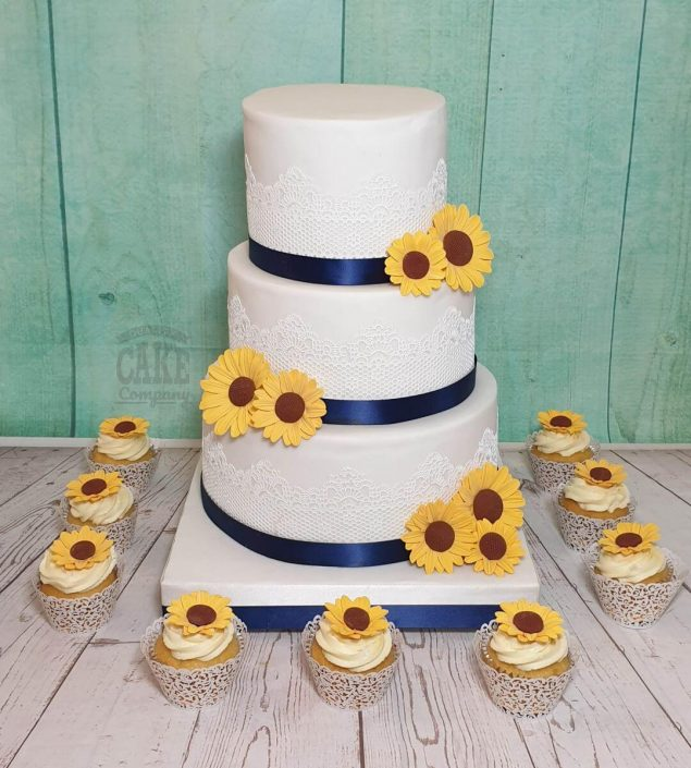three-tier-lace and sunflower wedding cake - tamworth