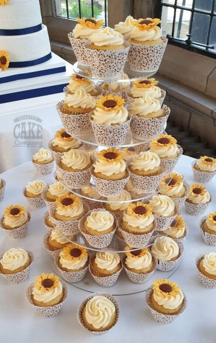Sunflower wedding cupcakes in lace cases - tamworth