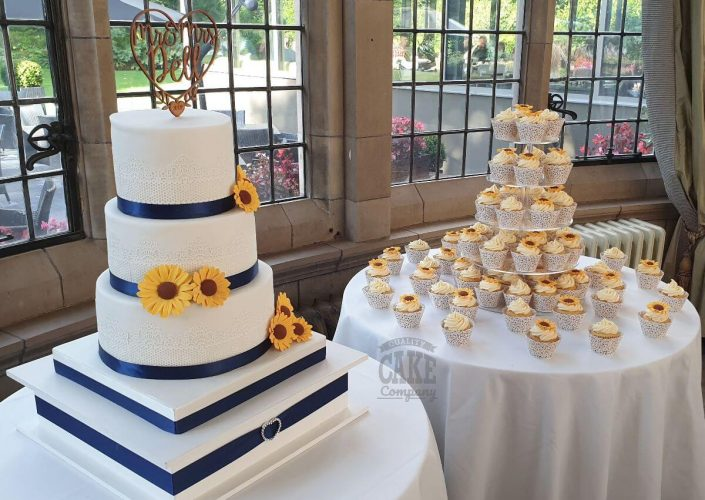 three-tier lace and sunflower wedding cake - tamworth
