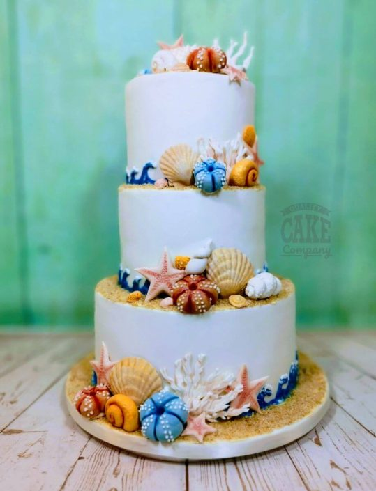 beach theme seashell wedding cake - tamworth west midlands
