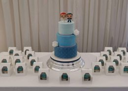 Three tier simple colourful geek chic wedding cake and matching cupcakes - tamworth west midlands