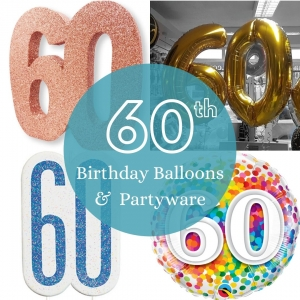 60th Birthday balloons and partyware - Tamworth