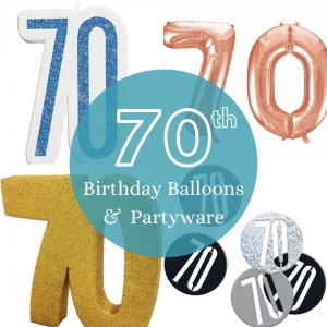 70th Birthday Balloons and partyware - Tamworth