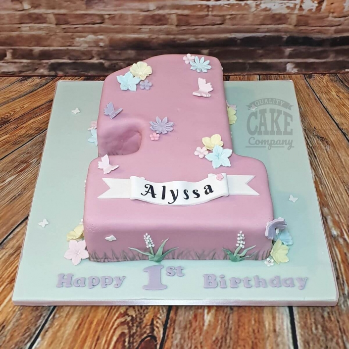 Number 1 pretty pastel pinks 1st birthday cake