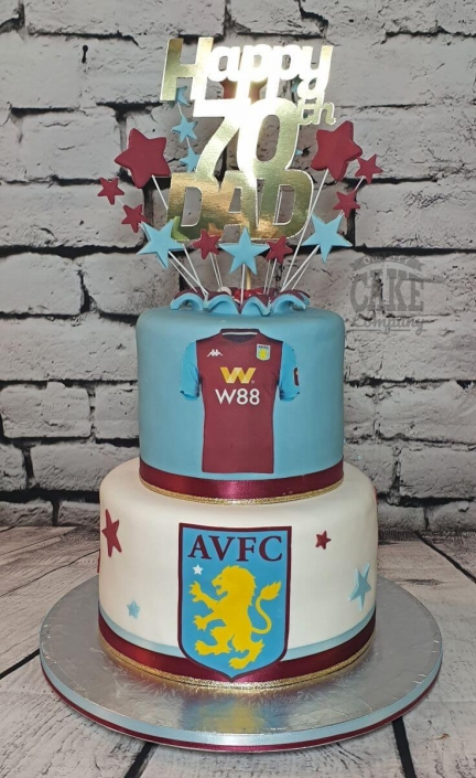 Two tier aston villa AVFC starburst cake - Tamworth