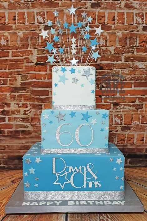 Three-tier square blue ombre star theme birthday cake