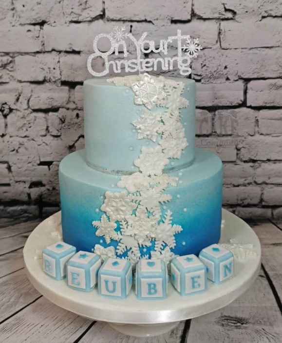 Two tier ombre snowflake Christening cake