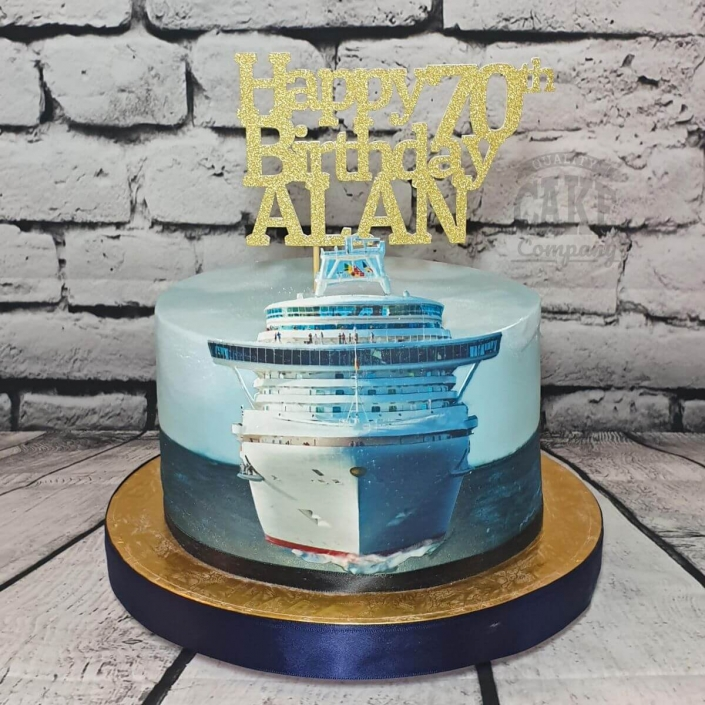 2D cruise ship theme cake with personalised topper - Tamworth