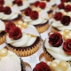 Pretty deep red rose wedding cupcakes - Tamworth
