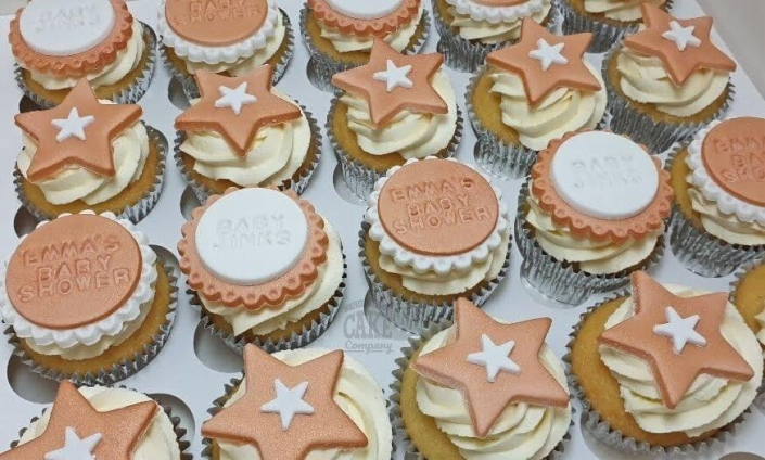 Rose gold baby shower cupcakes - Tamworth