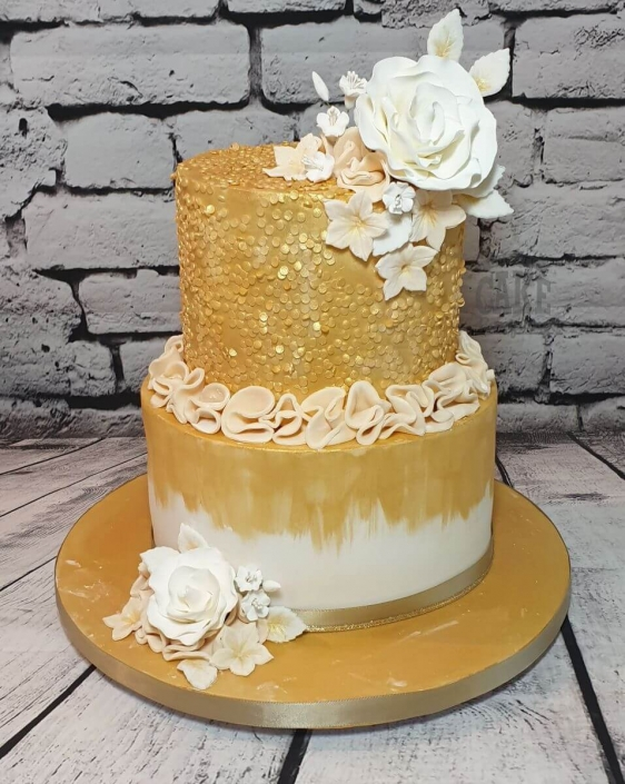 two-tiers gold sequins and ruffle cake - tamworth west midlands