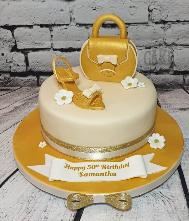 Gold and ivory shoe and handbag theme birthday cake - Tamworth
