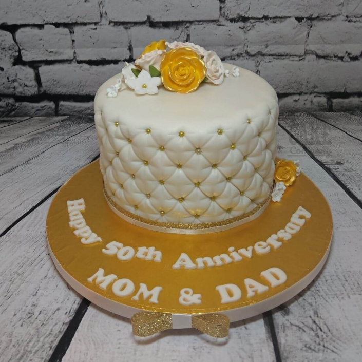 Golden anniversary quilted floral cake - Tamworth