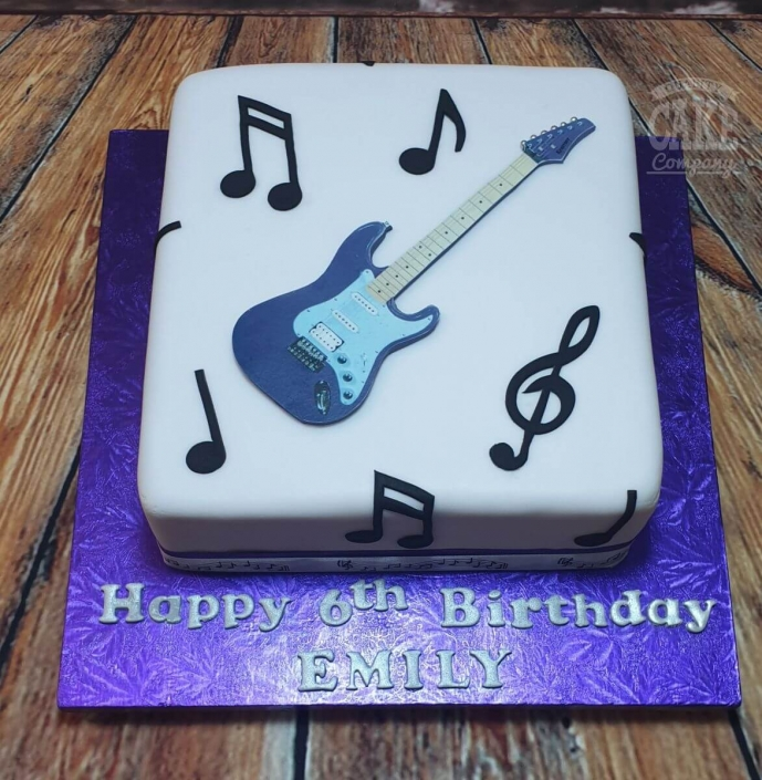 2D printed guitar music theme cake - Tamworth
