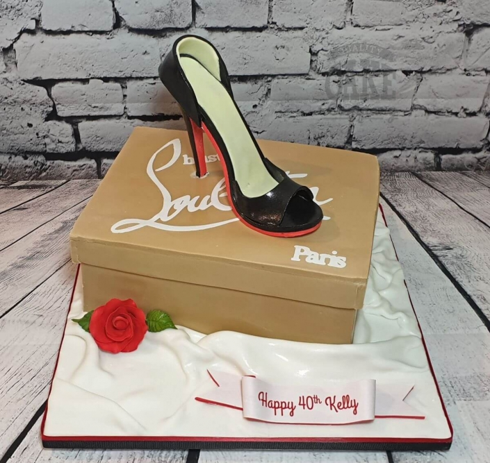 Louboutin shoe box theme cake - tamworth