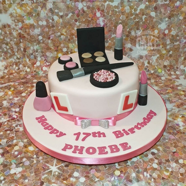 Make up and L plates theme teenager birthday cake - Tamworth