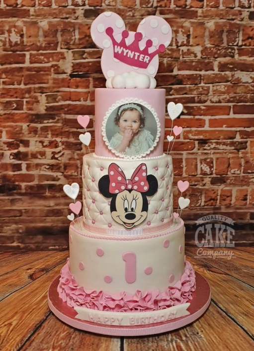 Three-tier minnie mouse inspired birthday cake - Tamworth