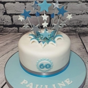 Pale blue starburst birthday cake - Tamworth