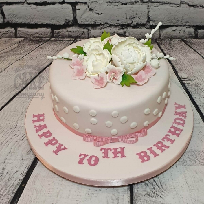 Pretty modern cake with Peonies and dots - Tamworth
