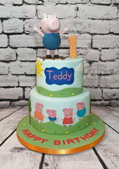 Two-tier Peppa pig birthday cake with George figure - Tamworth