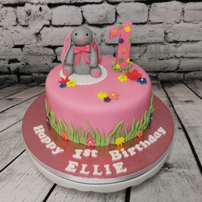 Bright pink bunny 1st birthday cake - Tamworth
