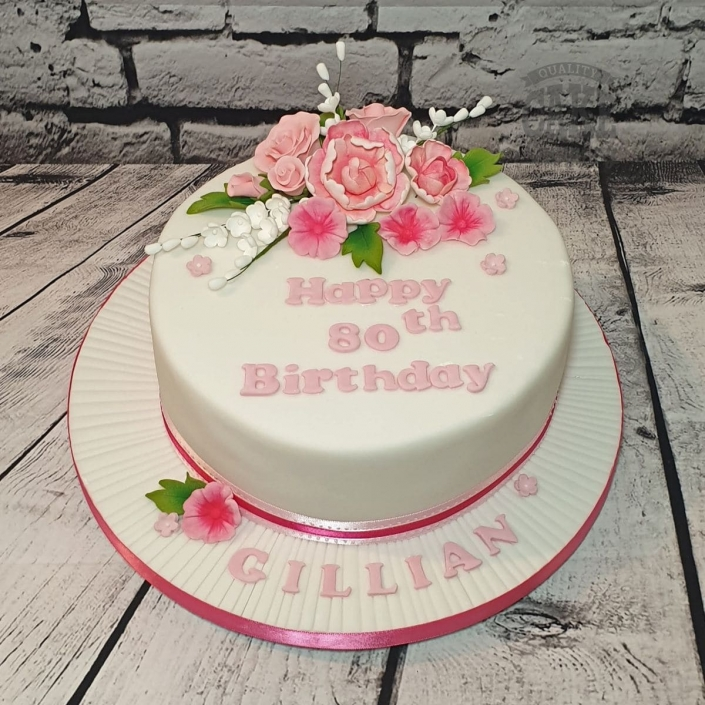 Pink floral 80th Birthday cake - Tamworth