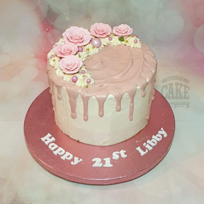 Modern pink floral drip cake with roses - Tamworth