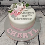 Pink and grey modern floral 60th birthday cake - Tamworth